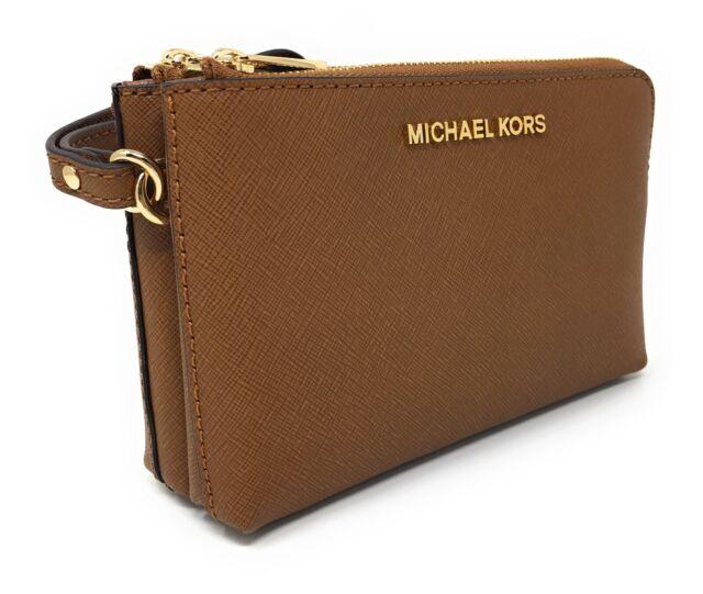 f03e51f1b0cd Michael Kors Jet Set Travel Large Double Gusset Top Zip Brown Leather  Wristlet