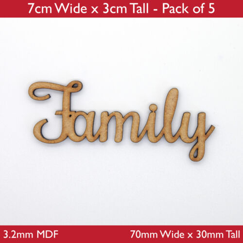 Wooden MDF Family Word Script for Family Tree Crafts Pack of 5