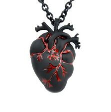 Black & Bloody Red Anatomical Heart Pendant Necklace Love Horror Alterantive