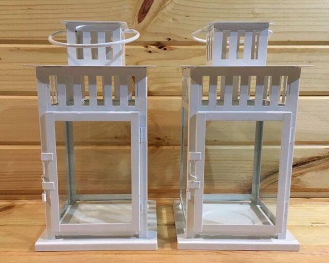 2 Ikea Borrby Lantern White Metal Glass Panel Door Wedding Decor Home Decor