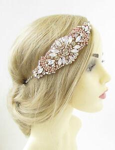 Retro Bridal Headpiece 1920s Flapper Rose Gold Headband Diamante Crystal Pearl