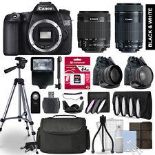 Canon EOS 70D SLR Camera 4 Lens Kit 18-55 + 55-250mm STM + 64GB Accessory Bundle