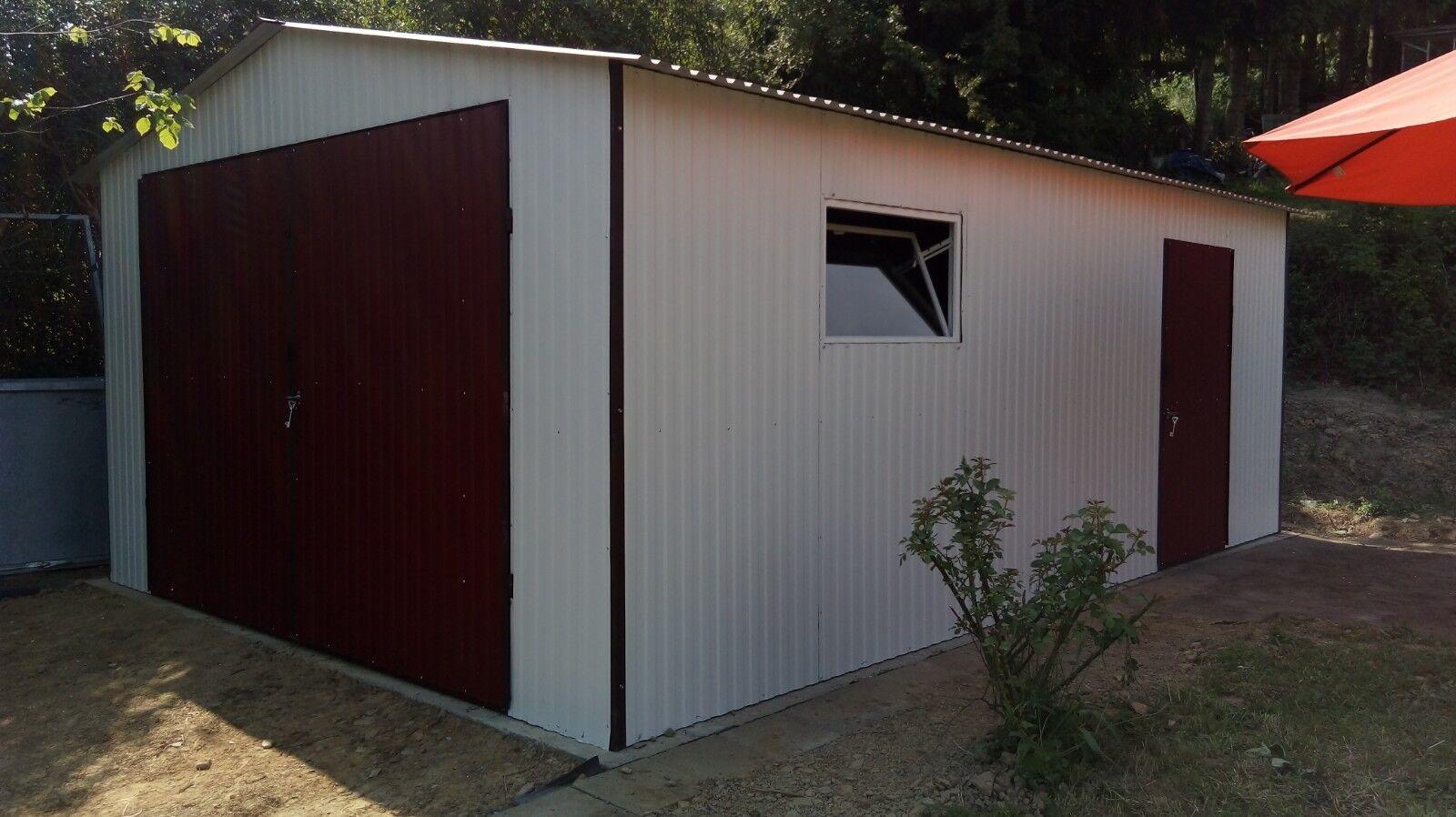 Blechgarage Garage Schuppe  4,40,x5,50  RAL9010&3005 Garage mit Aufbau NEU