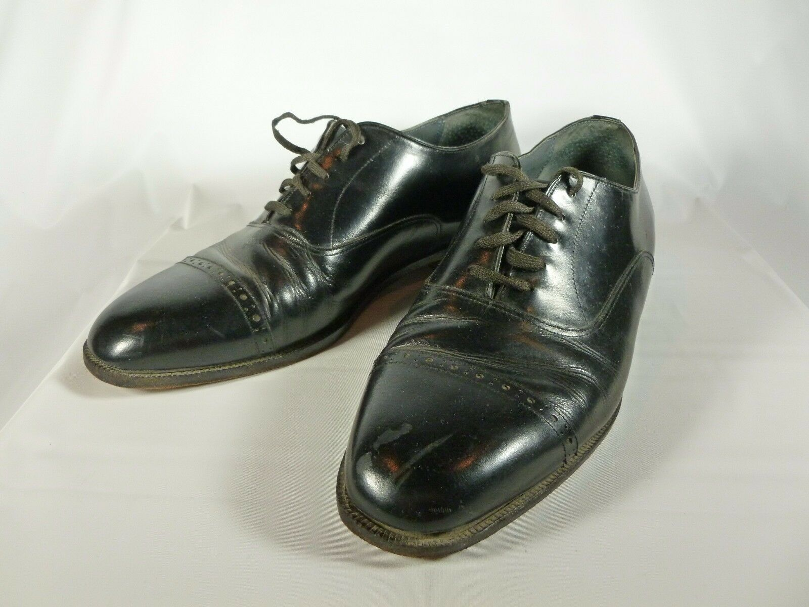 Mens Black Leather Natural Leader John Weitz Cap Toe shoes Size 10D Model 46571