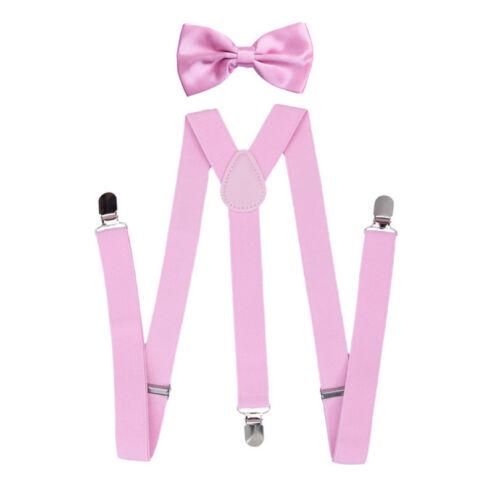 Men/'s Classic Pre tied Solid Color Bow Tie Elastic Y-Back Braces Suspenders Set