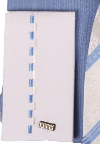 Men/'s George Fashion  Dress Shirt With Tie /& Handkerchief French Cuff AH621