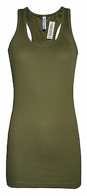 Womens B.C Long Vest Tank Top Lycra STRETCH Olive Green Size 6 to 20 Ladies