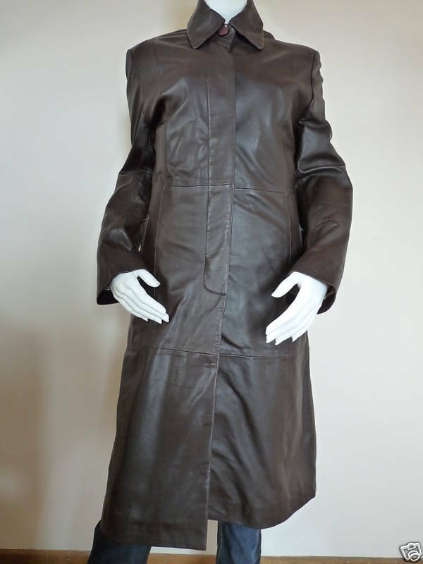 BROWN NAPPA LEATHER TRENCH COAT by EATILIO   BNNT