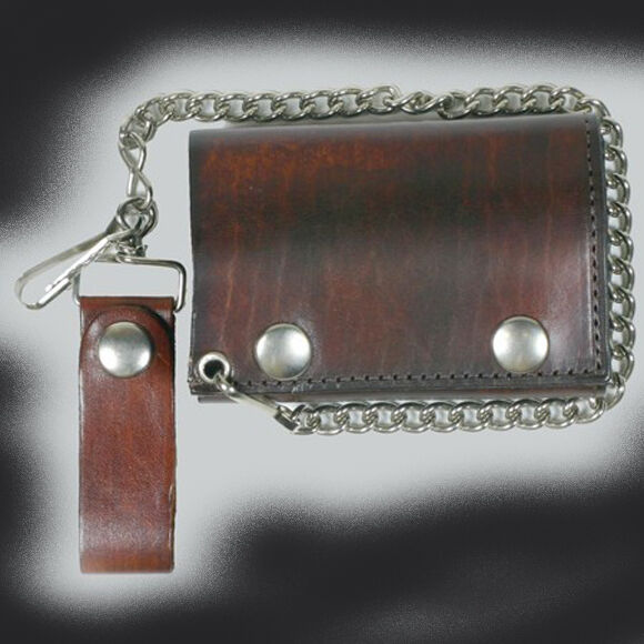 Antique Brown TRI-FOLD LEATHER WALLET WITH CHAIN