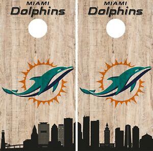 Miami Dolphins Folded Gloves Cornhole Wraps