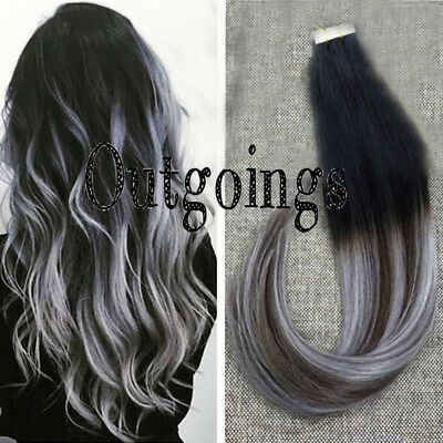 Human Hair Extensions Ombre Black Brown