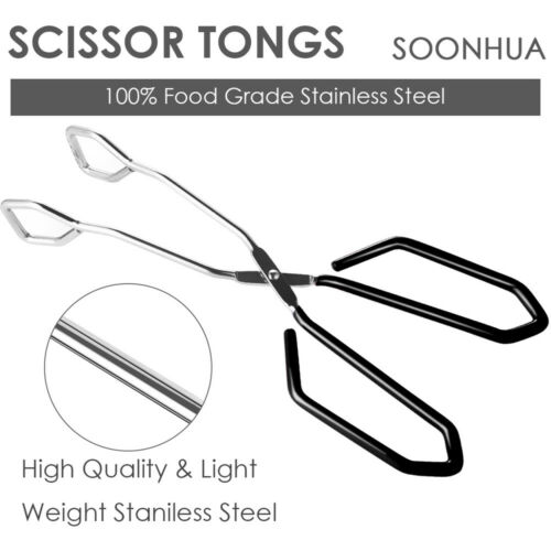 Scissor Shaped Food Tongs Kitchen Cooking Bread Serving Clamp BBQ Buffet Clip