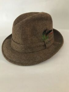 Stetson Wool Hat Fedora Brown Size 7 Green Feathers Fall Winter ... 56ee8c4ffef5