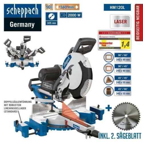 und Zugsäge HM120L Gehrungssäge Kappsäge Säge inkl Scheppach Kapp Laser