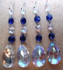 4  AB AURORA BOREALIS TEARDROP BLUE SILVER Crystal Prism Chandelier Suncatcher
