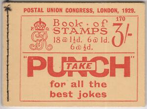 GEORGE V 1929 PUC 3/- BOOKLET EDITION 170 INVERTED WMK
