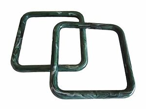 "6 Pair of 5"" Green Marble Square Plastic Macrame Craft Handbag Purse Handles"