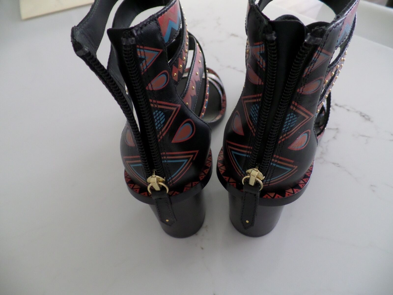 New Latest ASH ASH ASH Papaya heel strappy multi color shoes w gold studs sz 41 US 10 a75fe6