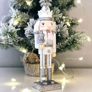 25cm Silver Nutcracker Soldier Doll Traditional Christmas Decoration