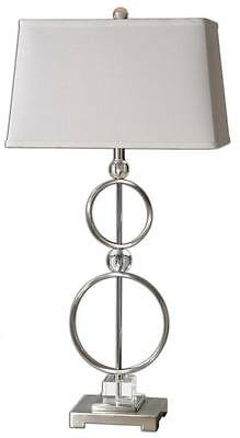 Luxe OPEN METAL CIRCLES Table Lamp Rings SILVER Metal Aluminum Contermporary