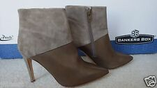 New Women J.Crew Collection Leather and Suede Ankle Boots, Cobblestone, Size 7