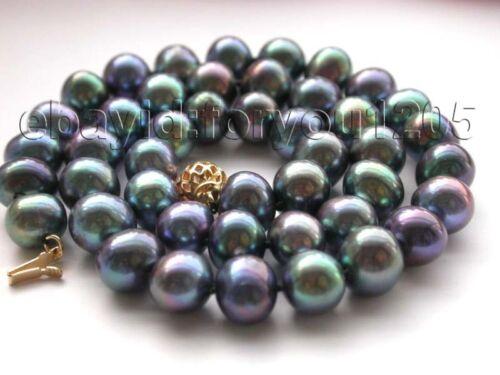 """17.5/"""" Véritable 10 mm naturel paon ronde collier de perles 14k #f1330!"""