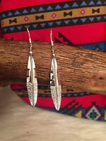 Navajo Native American Sterling Silver Feather Earrings-free Shipping