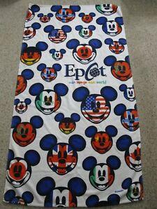 WALT-DISNEY-WORLD-Souvenir-EPCOT-Mickey-Mouse-Beach-Towel-1980s-RARE