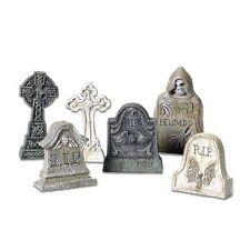 6 Tombstones Halloween Prop Spooky Decoration Haunted House Miniatur Indoor Deco