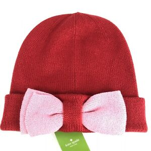 8f8fca709c3b8 Kate Spade Women s Beanie Hat with Colorblock Bow Charm Red   Pink ...