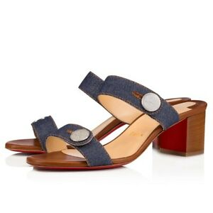 Details about Christian Louboutin Sandenim 55 Blue Denim Brown Leather Block Heel Sandal 37