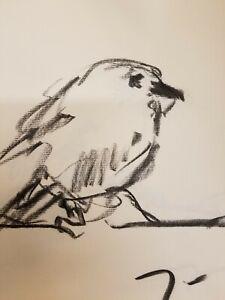 "JOSE TRUJILLO - Original Charcoal Paper Sketch Drawing 12"" Bird Modernism DECOR"