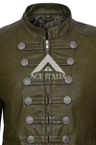 """/""""VICTORY/"""" Donna Verde Oliva Militare Parata Stile Reale Morbido Nappa Giacca in Pelle 8976"""