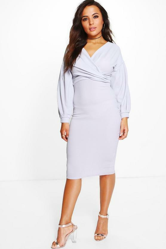 Petite Puff Ball Sleeve Wrap Midi Dress size 6 white BOOHOO
