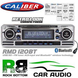 Retro Style Bluetooth Deckless Usb Sd Car Stereo Radio Player Silver