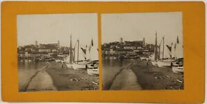 Cannes-Il-Riva-Francia-Foto-Stereo-P28T4n39-Vintage-Analogica-c1900