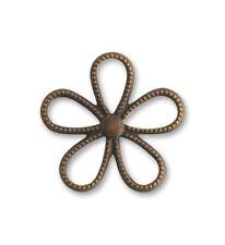 Vintaj natural brass 24mm Beaded Flower charm, pack of 2