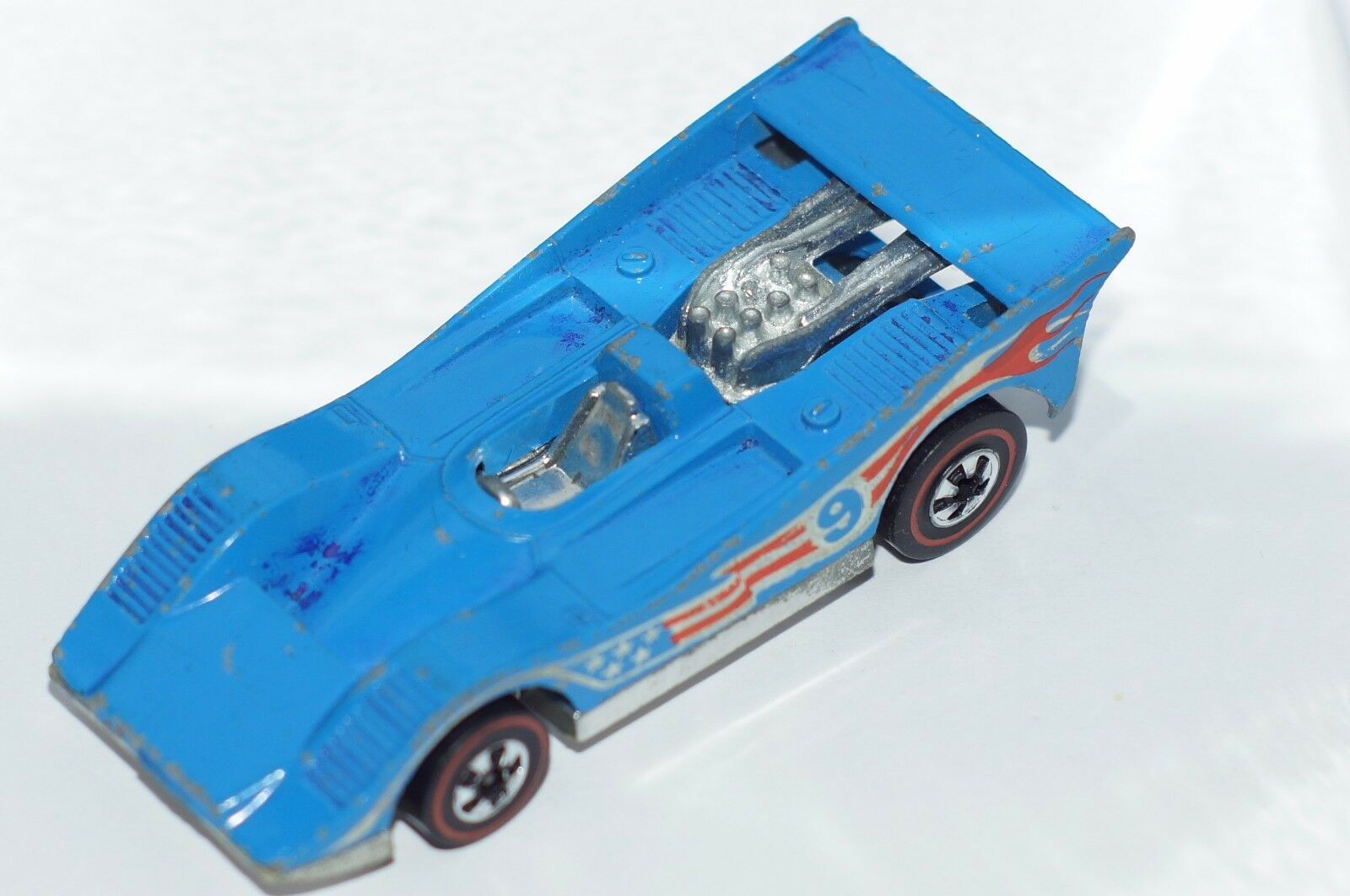 ORIGINAL Hot Wheels rossoline - American Victory Race Car - Chrome Base - blu 9