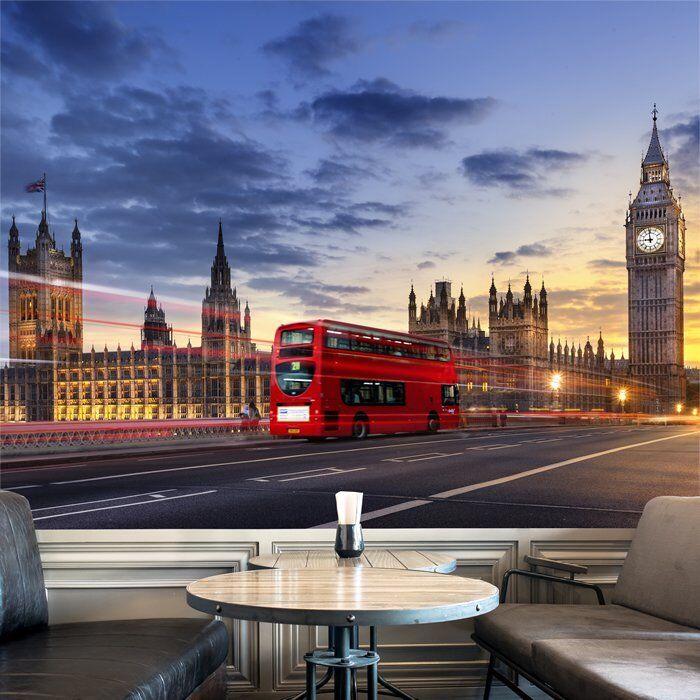 London City Skyline Fototapete Roter Londoner Bus Tapete Wohnzimmer Dekor
