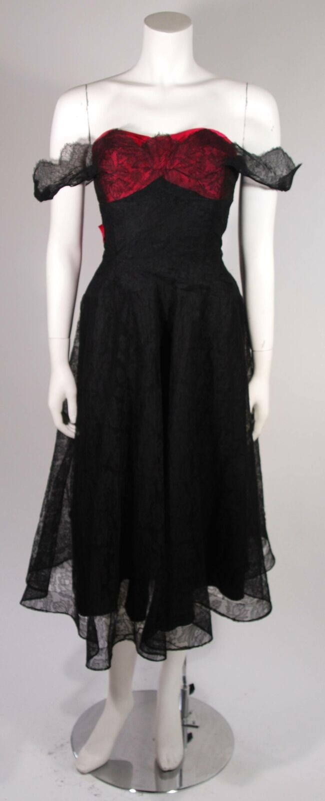 CEIL CHAPMAN Black Lace Cocktail Dress with Large… - image 4