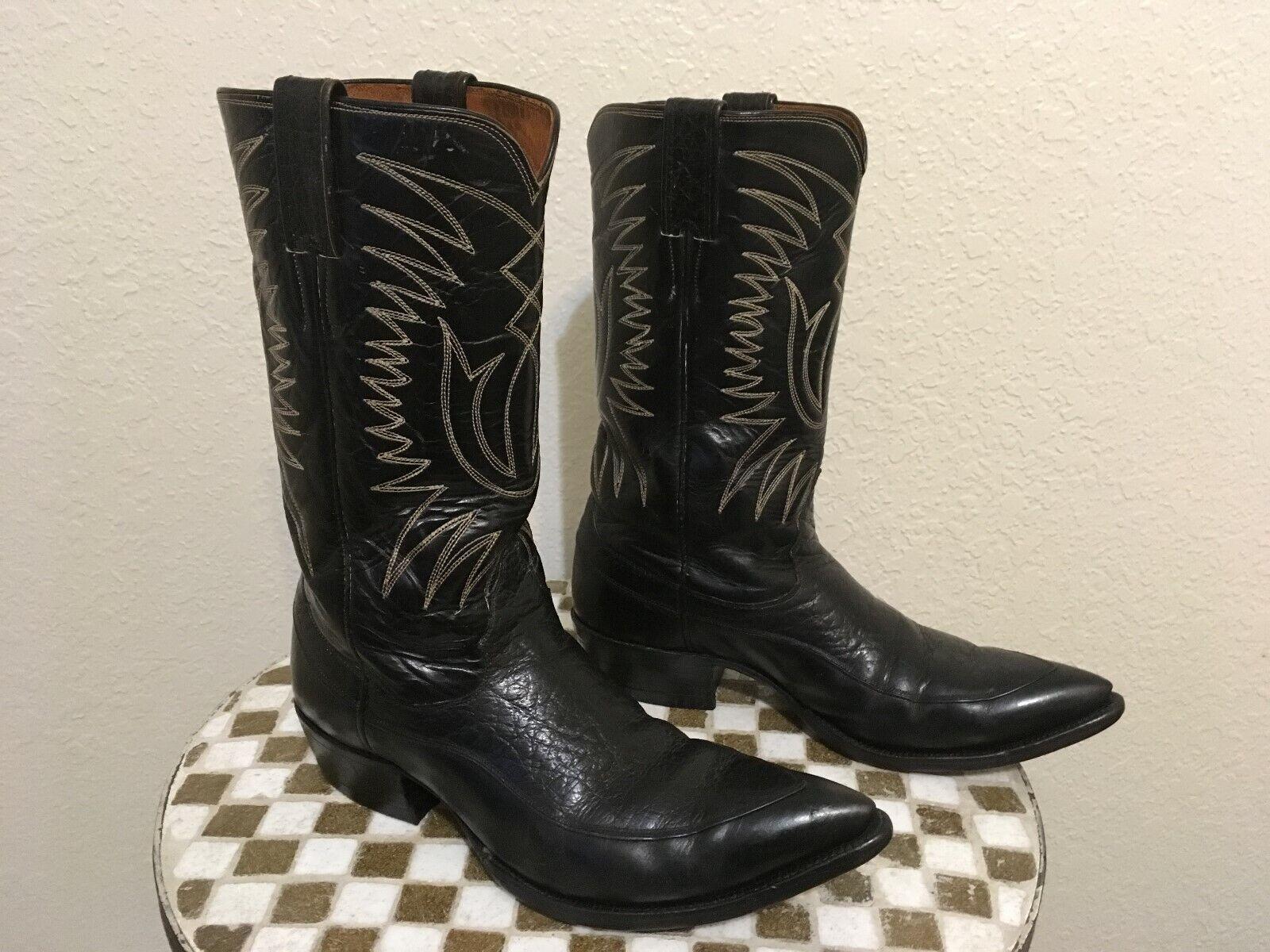 VINTAGE USA JUSTIN 2349 ROCKABILLY negro WESTERN COWBOY TRAIL BOSS botas 9.5 D