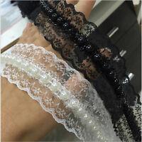 1/5 /10 Yard Pearl & Lace Beaded Trimming. Vintage Style Wedding Bridal Ribbon