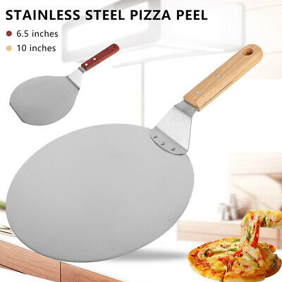 Stainless Steel Pizza Peel Bakers Round Paddle Wooden