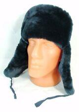 Ruso MVD oficial de policía azul de piel de oveja piel Ushanka Sombrero Insignia Mouton 59cm L