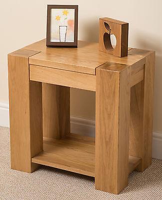 Kuba Solid Oak Wood Lamp Side Table Storage Shelf Wooden Living room Furniture