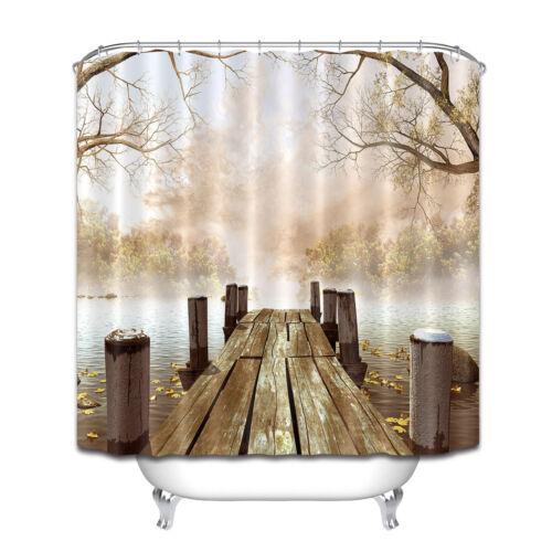 En bois Dock avec feuilles et branches d/'arbres à côté de la rivière Rideau De Douche Tapis Bain