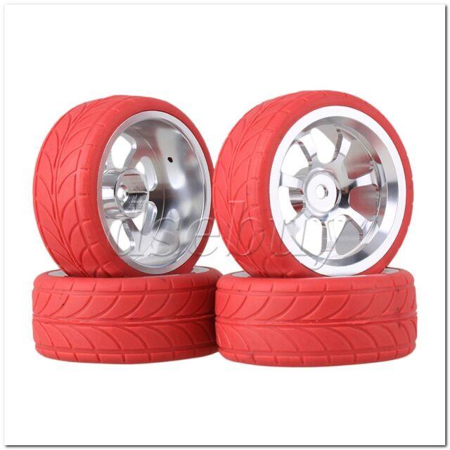4xRC1:10 On Road Car Silver Alloy 10 Spoke Wheel Rim /& Blue Arrow Rubber Tyre