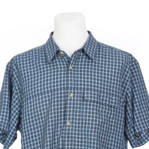 The-North-Face-Short-Sleeve-Blue-Check-Fishing-Hiking-Outdoor-Shirt-Mens-XL