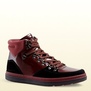 308e573840d2 New Gucci Men s Leather Suede Contrast Combo Hi-top Sneaker Dark Red ...