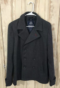 American-Rag-Womens-Gray-Peacoat-Double-Breasted-Wool-Blend-Button-Jacket-Sz-Sm